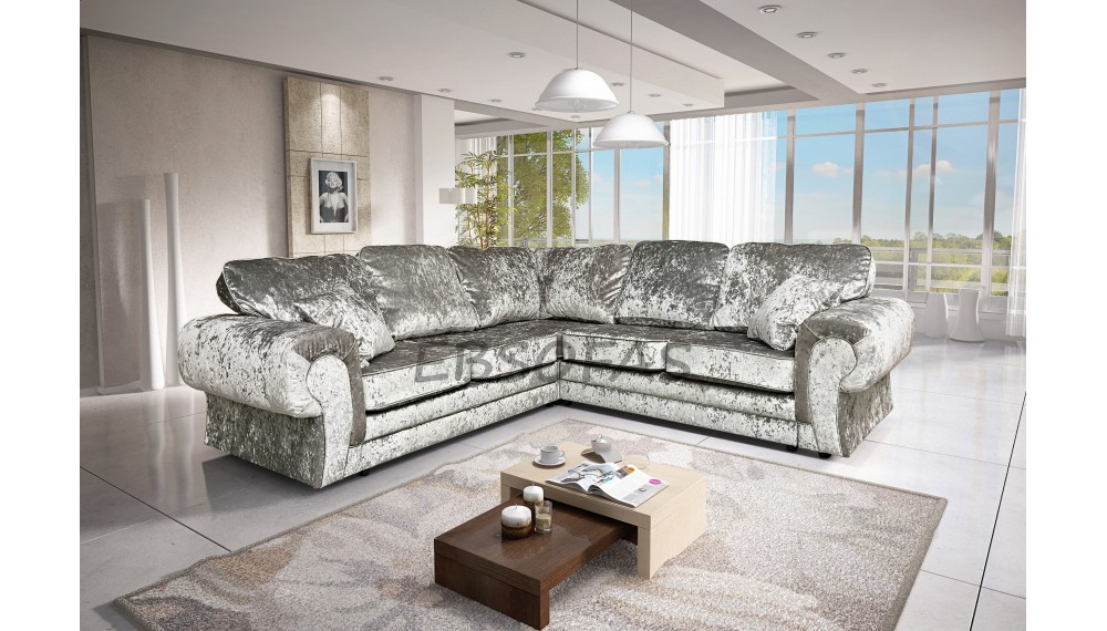 Crushed Velvet Corner Sofa Brand New Large Tango Corner