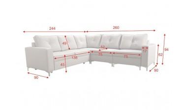 corner-sofa-beds - ADONIS III left side all in Graceland Cream - 9
